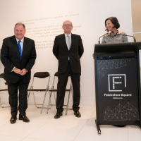 The Right Honourable Lord Mayor of Melbourne Robert Doyle, Eddie Kutner and Cathy Walter AM
