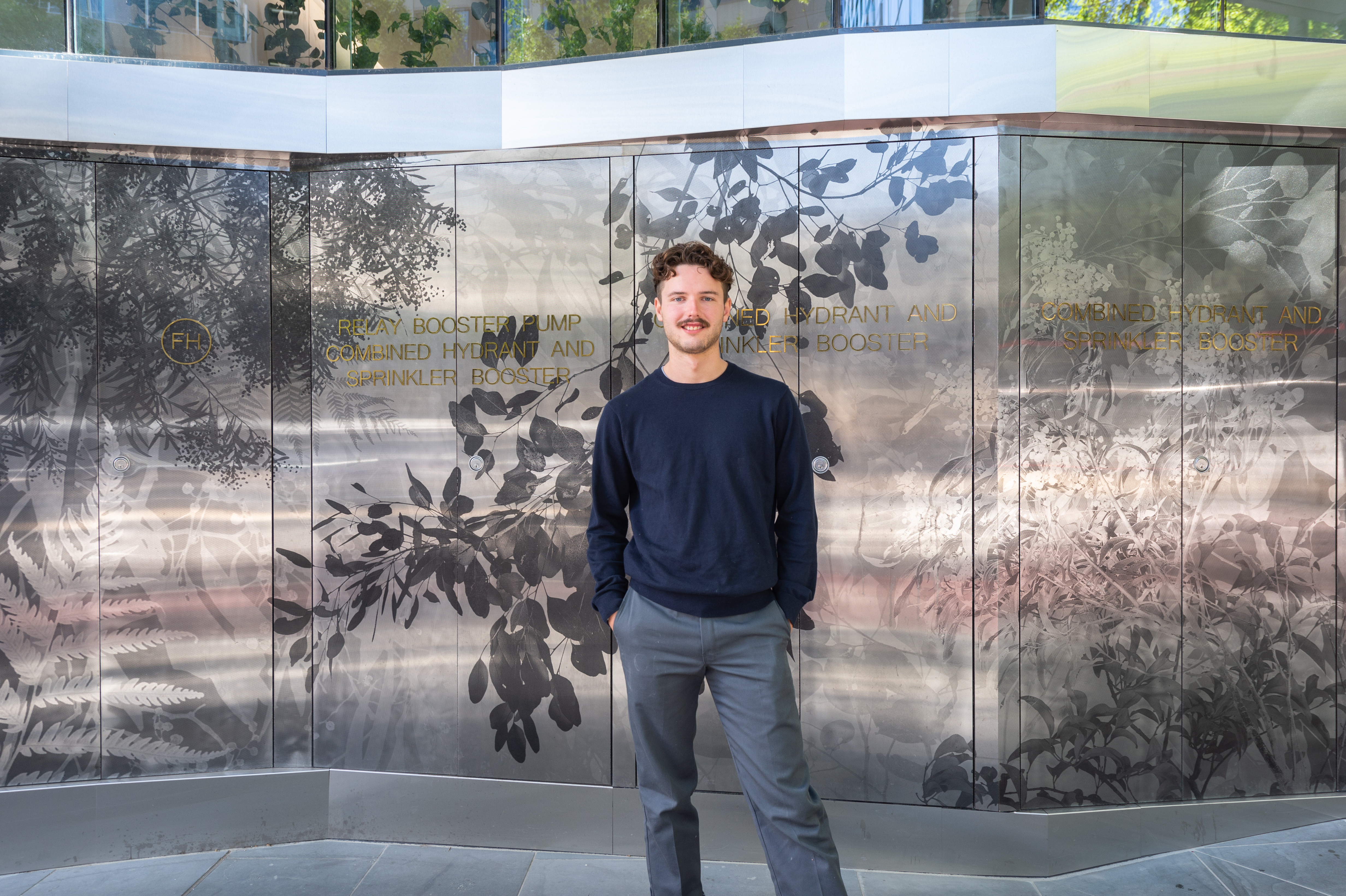 Artist David Green in front of his work In Between in Melbourne.